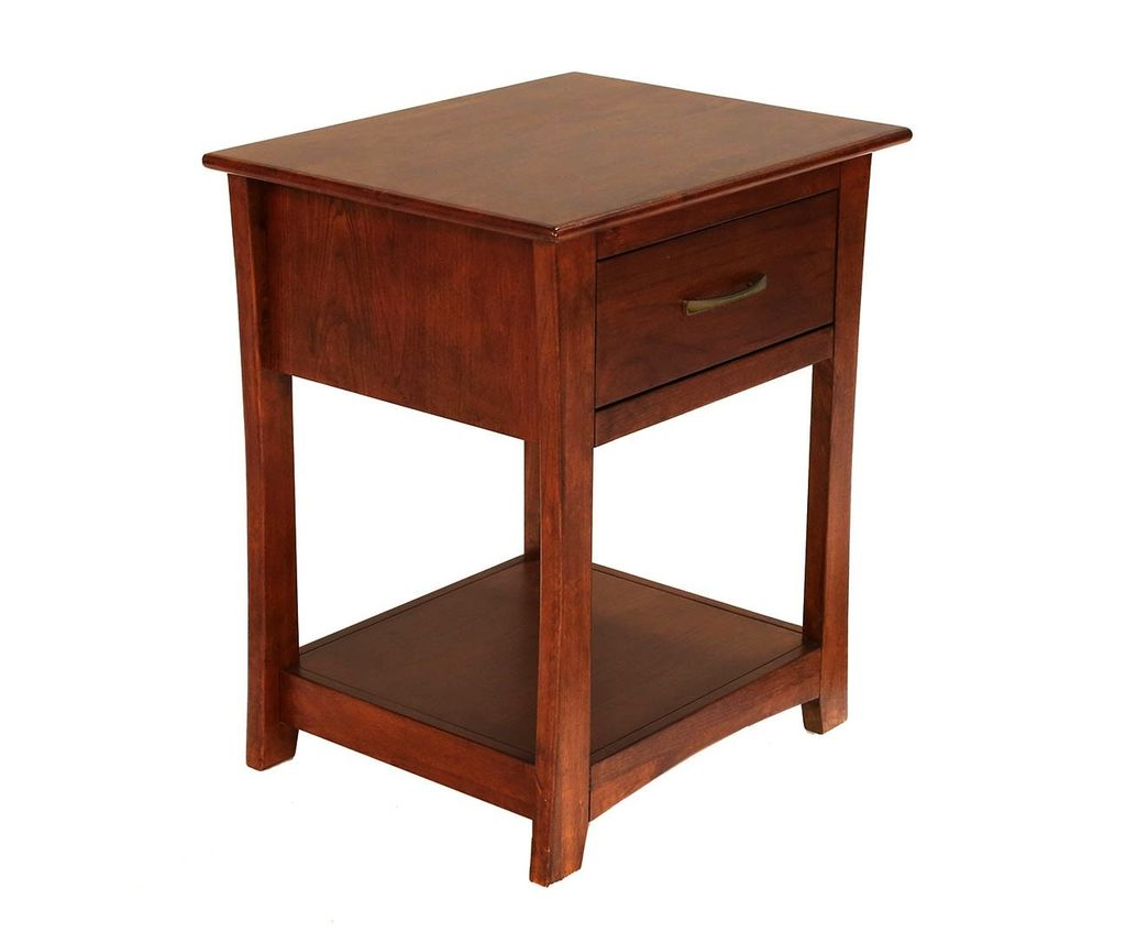 BEDROOM GRANT PARK ONE DRAWER NIGHTSTAND SOLID ALDER WITH PECAN FINISH