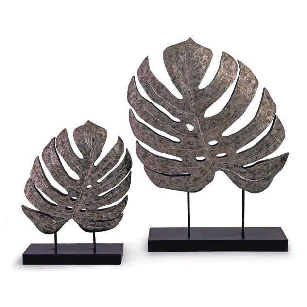 ACCESSORIES SILVER ANTIQUATED LEAVES   SET OF 2