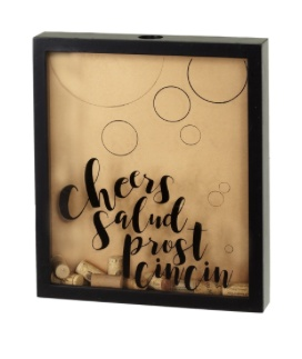 "ACCESSORIES FRAMED BLACK ""CHEERS"" CORK & BOTTLE CAP HOLDER"