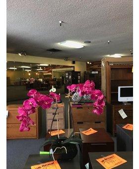 ACCESSORIES FLOWERS FUSHIA DOUBLE ELEGANT PHAL IN SQUARE DOT POT