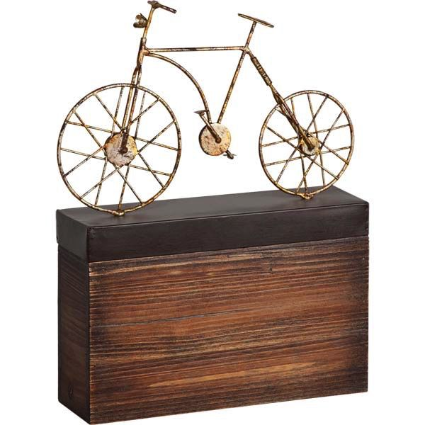 ACCESSORIES MEVETI II METAL BICYCLE  SCULPTURE ON NATURAL WOOD AND METAL STAND