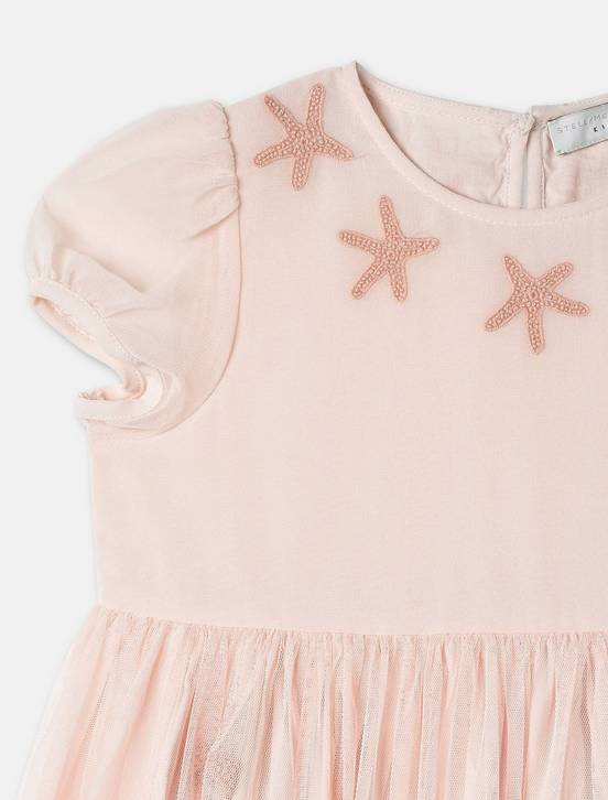 STELLA MCCARTNEY Stella McCartney MARIA GIRLS CAP SLEEVE TULLE DRESS W/ STAR PATCHES