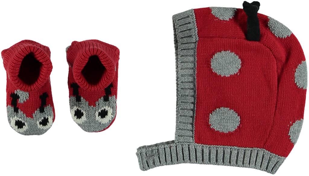 Stella Mccartney Chips 2 Pc Ladybug Knit Bonnetbooties Set Isola