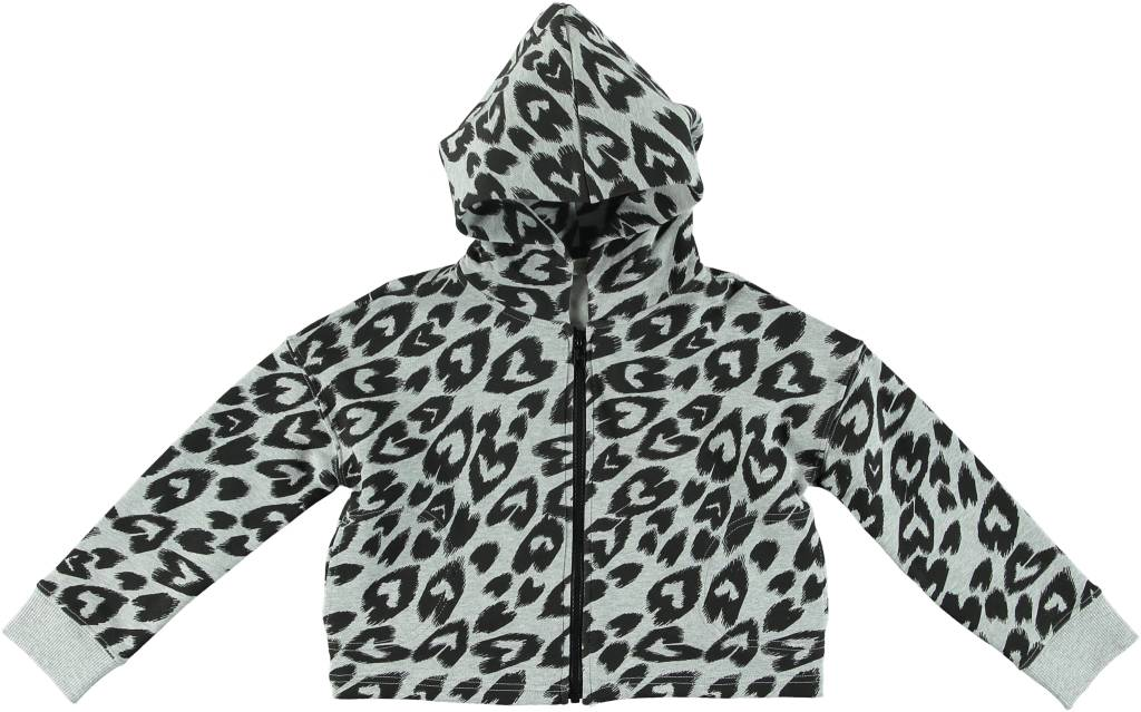 STELLA MCCARTNEY Stella McCartney HEART CHEETAH PRINT ZIP UP CROPPED HOODIE