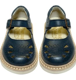 Young Soles Bow Navy Leather