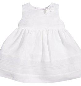 Patachou White Linen Swiss Dot Dress