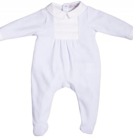 Patachou Blue Velour Babygrow
