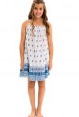 Blue Ikat Paisley Dress