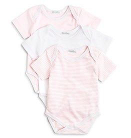 Kissy Kissy 3Pk S/S Onesie Pink Stripe