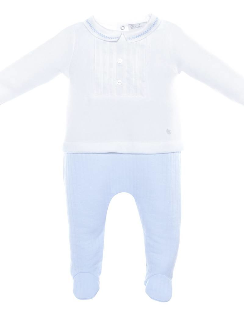 Patachou White & Blue Quilt/Velour Babygrow