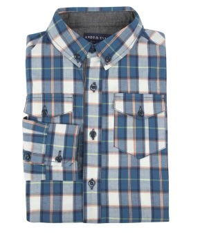 Andy & Evan Teal Plaid Shirt