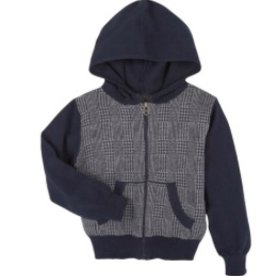 Navy Check Hoodie