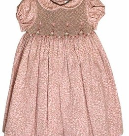 Luli & Me Pink & Tan Smocked Dress