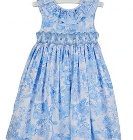 Luli & Me Blue Flower Smocked Dress