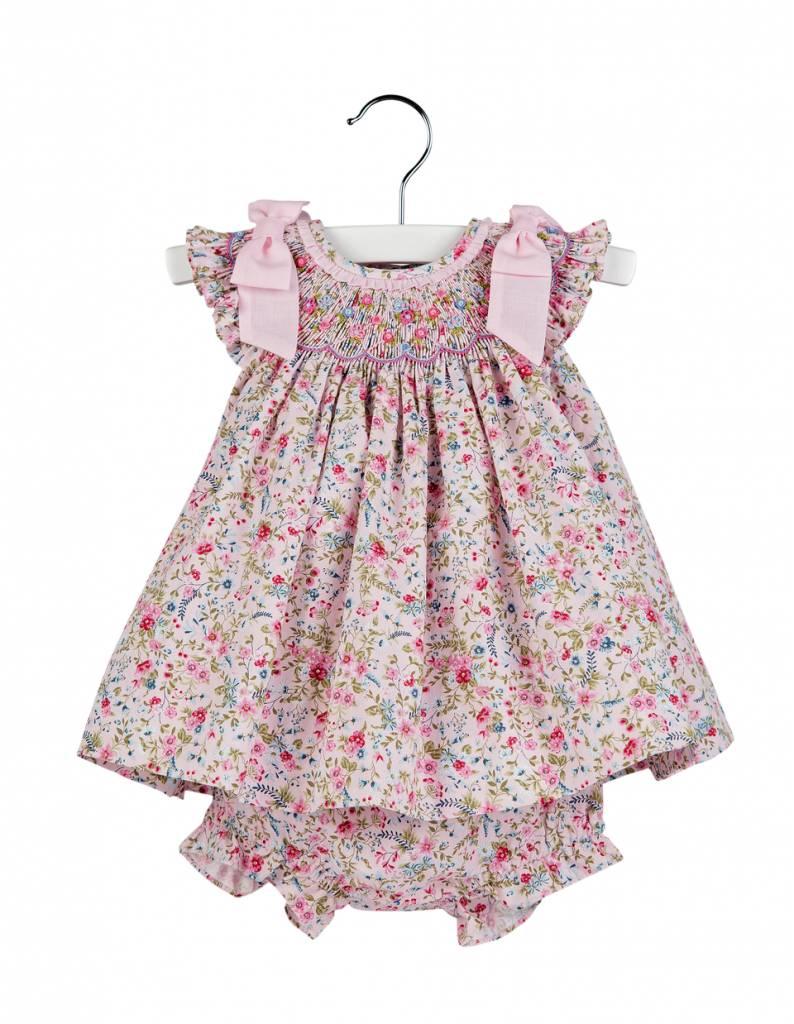 Luli & Me Pink Floral Smocked Dress