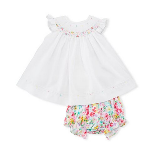 Luli & Me Smocked White with Floral Bloomer