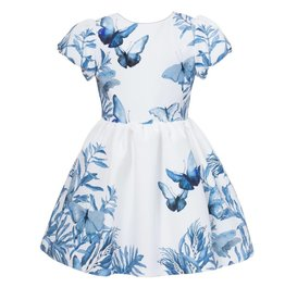 Patachou Blue Butterfly Print Dress