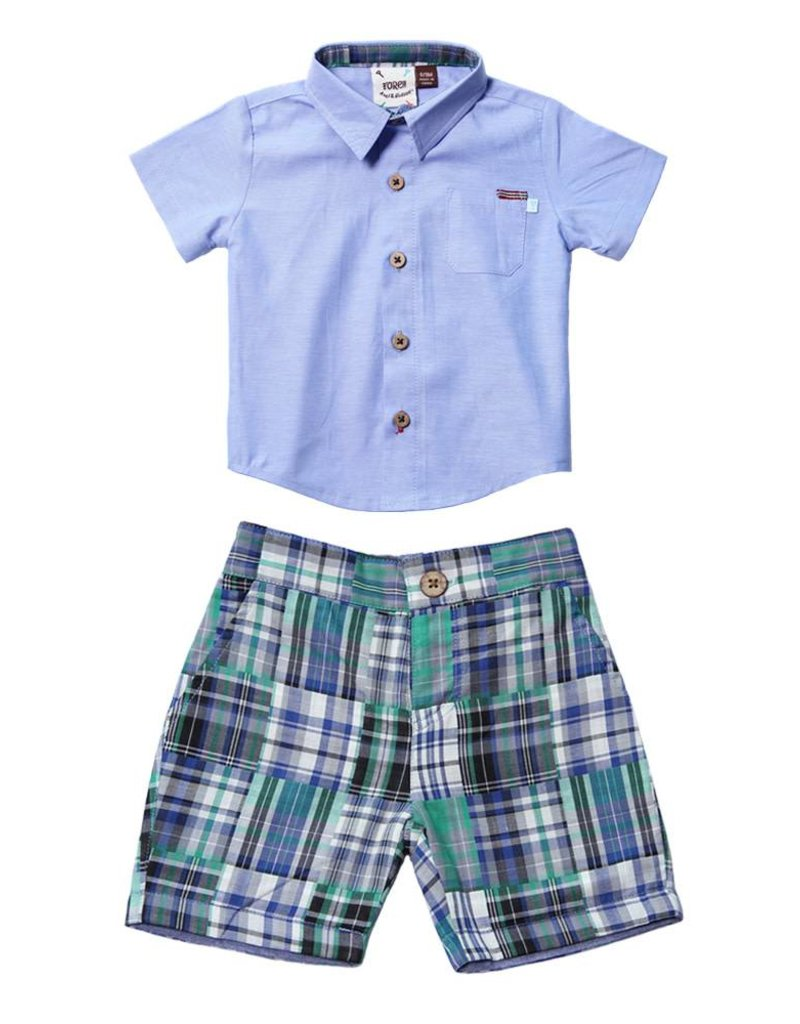 Fore Axel & Hudson Green Patch Plaid Set