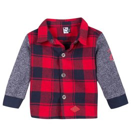 Red & Navy Flannel Over Shirt