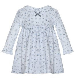 Patachou Blue Cotton Smocked Dress