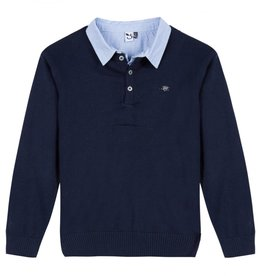 Navy Sweater with Collar