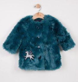 Catimini Turquoise Faux Fur Coat