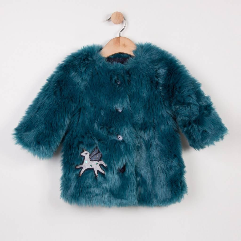 Turquoise Faux Fur Coat - Doodle & Stinker Children's Boutique