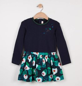 Catimini Navy & Floral Print Dress