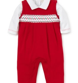 Kissy Kissy Smocked Holiday Overall