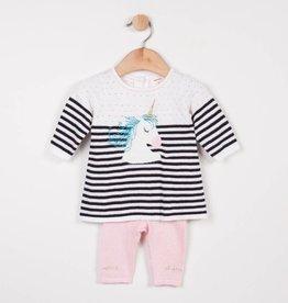 Catimini Black & White Stripe Unicorn Sweater Set
