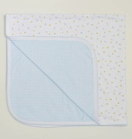 Kissy Kissy Homeward Print/Gingham Blanket Blue