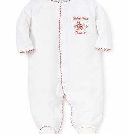 Kissy Kissy White & Red 1st Christmas Velour Footie