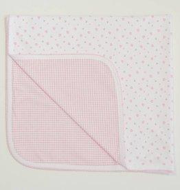 Kissy Kissy Homeward Print/Gingham Blanket Pink