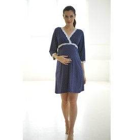 Belabumbum Maternity Dottie Kimono Dress - Navy