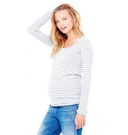 Ingrid & Isabel Maternity Grey Stripe Tissue Tee