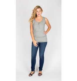 NOM Maternity Snap Tank - Charcoal Microstripe