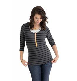 Molly Ades 3/4 Sleeve Zip-Nursing Top