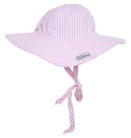 Flap Happy Floppy Hat - Pink Seersucker
