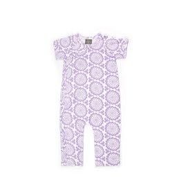 Kate Quinn Organics Short-Sleeve Kimono Jumpsuit - Lavender Burst