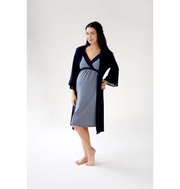 Belabumbum Maternity Nursing Chemise & Robe Set - Navy Stripe