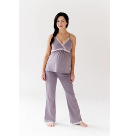 Belabumbum Maternity Nursing Cami & Lounge Pant Set - Lilac/Grey Dot