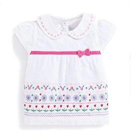 JoJo Maman Bebe Maternity Pretty Embroidered Top White