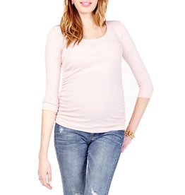 Ingrid & Isabel Maternity 3/4 Sleeve Stripe Shirred Top - Blush/Oatmeal