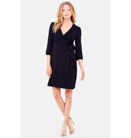 Ingrid & Isabel Maternity 3/4 Sleeve Wrap Dress - Black
