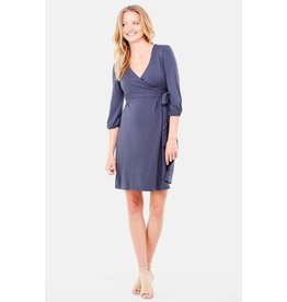 Ingrid & Isabel Maternity 3/4 Sleeve Wrap Dress - Grey Metal