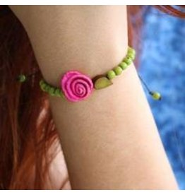 Calamarie Calamarie Orange Peel & Seed Bracelet - Grass Green/Hot Pink Rose