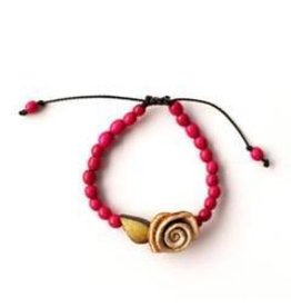 Calamarie Calamarie Orange Peel & Seed Bracelet - Hot Pink/Ivory Rose