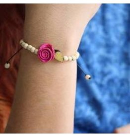 Calamarie Calamarie Orange Peel & Seed Bracelet - Natural/Hot Pink Rose