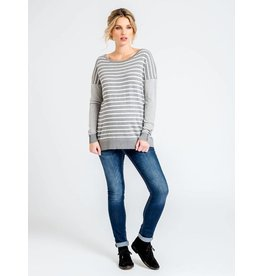 JoJo Maman Bebe Maternity Easy Grey Stripe Sweater