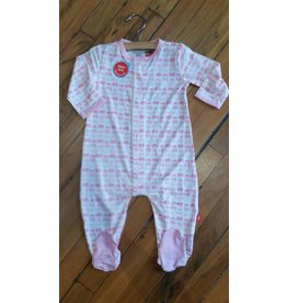 Magnificent Baby Magnetic Footie - Cotton Modal - Soft Pink Elephants